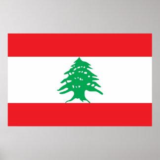 Gerahmter Druck mit Flagge vom Libanon Poster