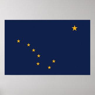 Gerahmter Druck mit Flagge von Alaska, USA Poster