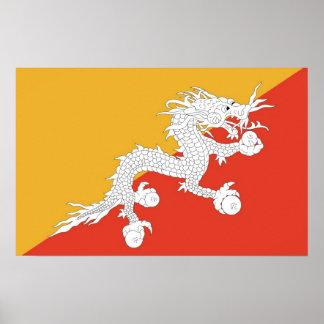 Gerahmter Druck mit Flagge von Bhutan Poster