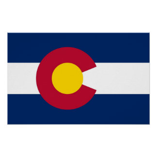 Gerahmter Druck mit Flagge von Colorado, USA Poster