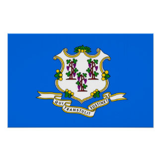 Gerahmter Druck mit Flagge von Connecticut, USA Poster