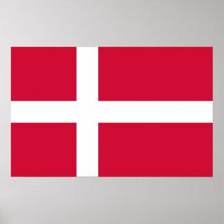 Gerahmter Druck mit Flagge von Dänemark Poster