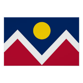 Gerahmter Druck mit Flagge von Denver, Colorado, Poster