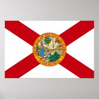 Gerahmter Druck mit Flagge von Florida, USA Poster
