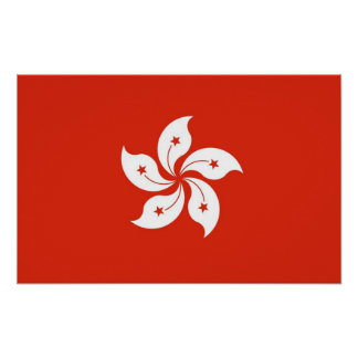 Gerahmter Druck mit Flagge von Hong Kong, China Poster