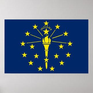 Gerahmter Druck mit Flagge von Indiana, USA Poster
