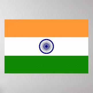 Gerahmter Druck mit Flagge von Indien Poster