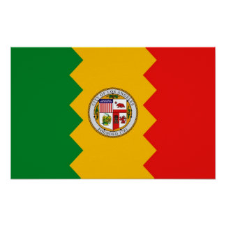Gerahmter Druck mit Flagge von Los Angeles, Poster