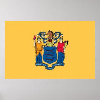 Gerahmter Druck mit Flagge von New-Jersey, USA Poster