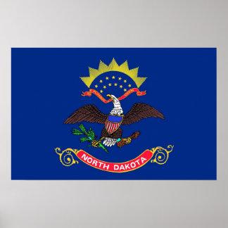 Gerahmter Druck mit Flagge von North Dakota, USA Poster