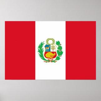 Gerahmter Druck mit Flagge von Peru Poster