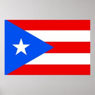 Gerahmter Druck mit Flagge von Puerto Rico, USA Poster