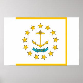 Gerahmter Druck mit Flagge von Rhode Island, USA Poster