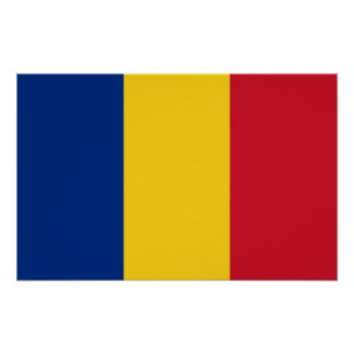 Gerahmter Druck mit Flagge von Rumänien Poster