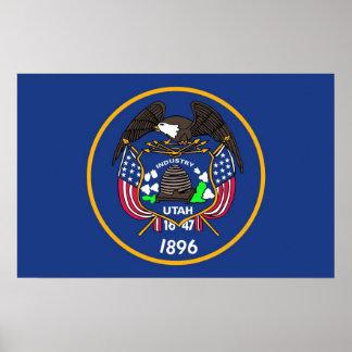 Gerahmter Druck mit Flagge von Utah, USA Poster