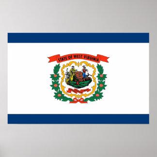 Gerahmter Druck mit Flagge von West Virginia, USA Poster