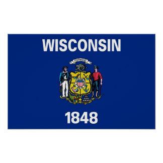 Gerahmter Druck mit Flagge von Wisconsin, USA Poster