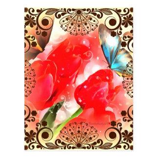 Gerahmter mit Blumenschmetterling Postkarte