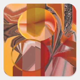 Gerät-rotes und orange abstraktes quadratischer aufkleber
