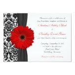 Gerber Gänseblümchen-rote Schwarz-weiße Personalisierte Einladungskarten