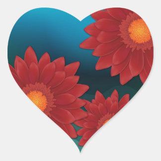 Gerbera-Blume Herz-Aufkleber