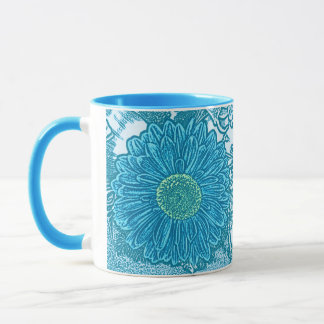 Gerbera-Gänseblümchen-Block-Druck - Seeblau Tasse