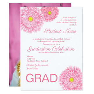 Gerbera-Gänseblümchen-Blumen-Abschluss-Einladung Karte