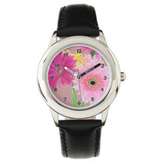 Gerbera-Gänseblümchen-Blumen Uhr