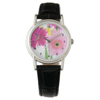 Gerbera-Gänseblümchen-Rosa Armbanduhr