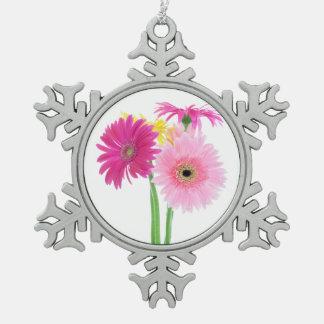 Gerbera-Gänseblümchen-Rosa Schneeflocken Zinn-Ornament