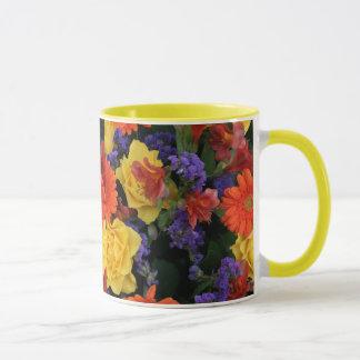 Gerbera-Rosen-Blumenstrauß Tasse
