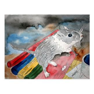GERBIL-MALEREI-Haustierporträt-Kunstpostkarte Postkarte