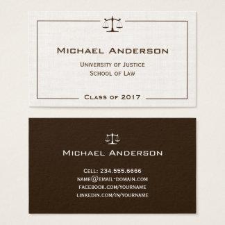 Gerechtigkeit des Skala-Gesetzeslogo-eleganten Visitenkarte
