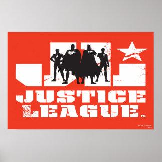 Gerechtigkeits-Liga-Logo-und Charakter-Silhouetten Poster