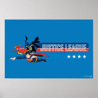 Gerechtigkeits-Liga-US Flagge Poster