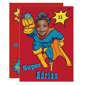 Gerechtigkeitsuperhero-Foto-Schablonen-Geburtstag 12,7 X 17,8 Cm Einladungskarte