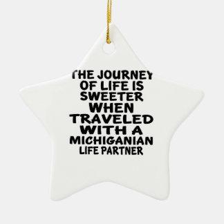 Gereist mit einem Michiganian Leben-Partner Keramik Ornament