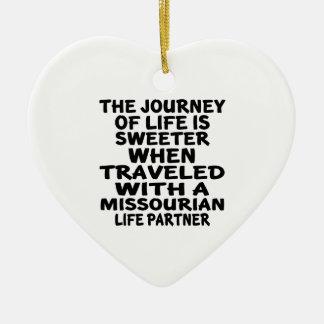 Gereist mit einem Missourian-Leben-Partner Keramik Ornament