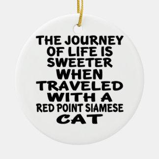 Gereist mit roter Punkt siamesischer Katze Keramik Ornament