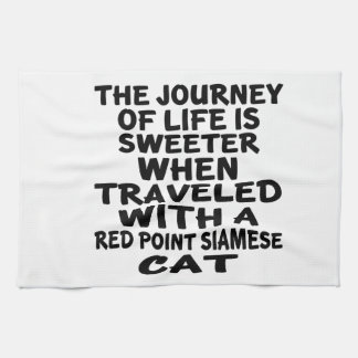 Gereist mit roter Punkt siamesischer Katze Küchentuch