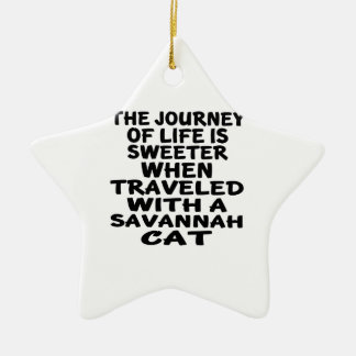 Gereist mit Savanne-Katze Keramik Ornament