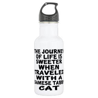 Gereist mit siamesischer Tabby Katze Edelstahlflasche