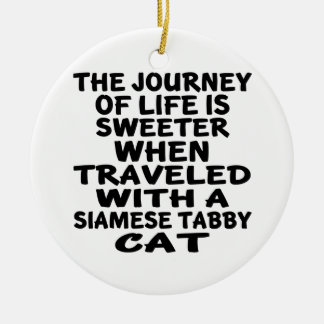 Gereist mit siamesischer Tabby Katze Keramik Ornament