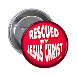 Gerettet durch Jesus Christus Anstecknadelbutton