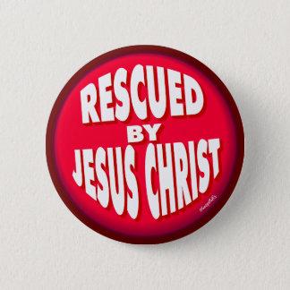 Gerettet durch Jesus Christus Runder Button 5,7 Cm