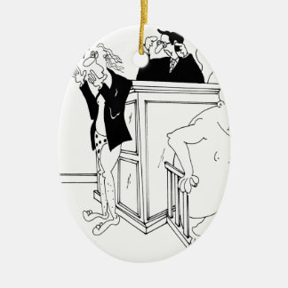 Gerichts-Cartoon 5490 Ovales Keramik Ornament
