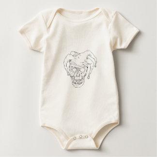 Gerichts-Spaßvogel-Schädel-Zeichnen Baby Strampler