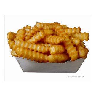 Geriffelte Pommes-Frites Postkarte
