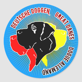 German: Dogge Runder Aufkleber