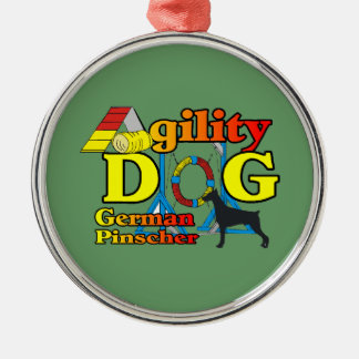 German_Pinscher__Agility Silbernes Ornament